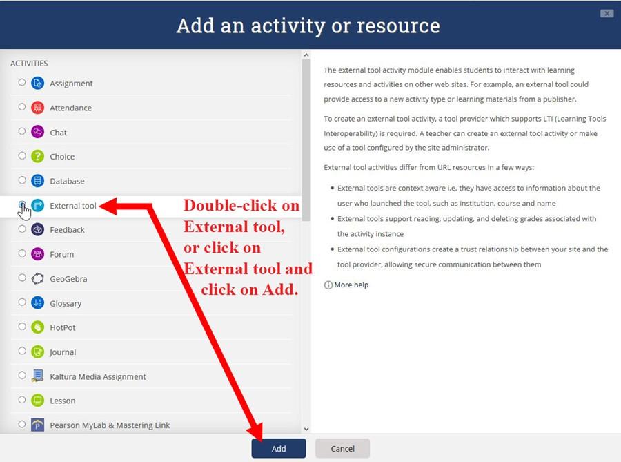 Add External tool link
