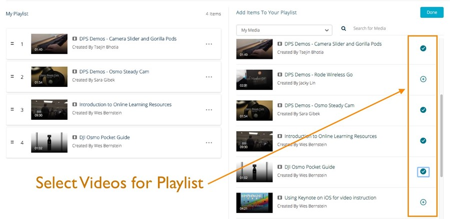 Selected Videos for a playlist in Mediaspace