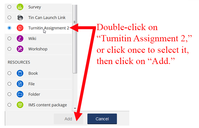 Add Turnitin Assignment