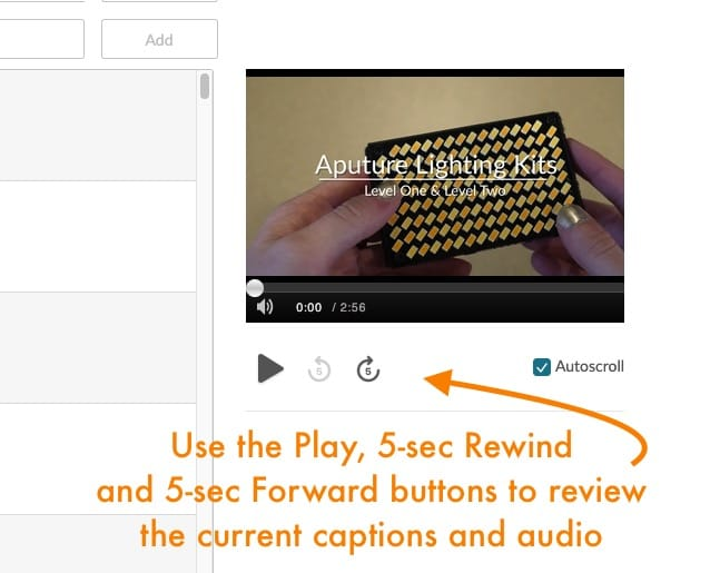 Play, rewind, and forward buttons on the caption player in Mediaspace.