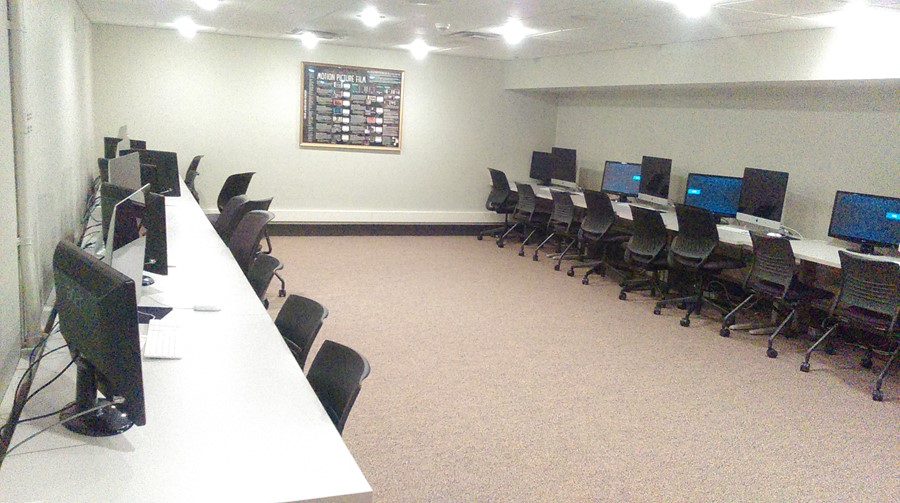 Pictured: The video editing lab in BERT 018