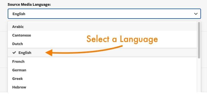 Selecting the language for captioning within Mediaspace