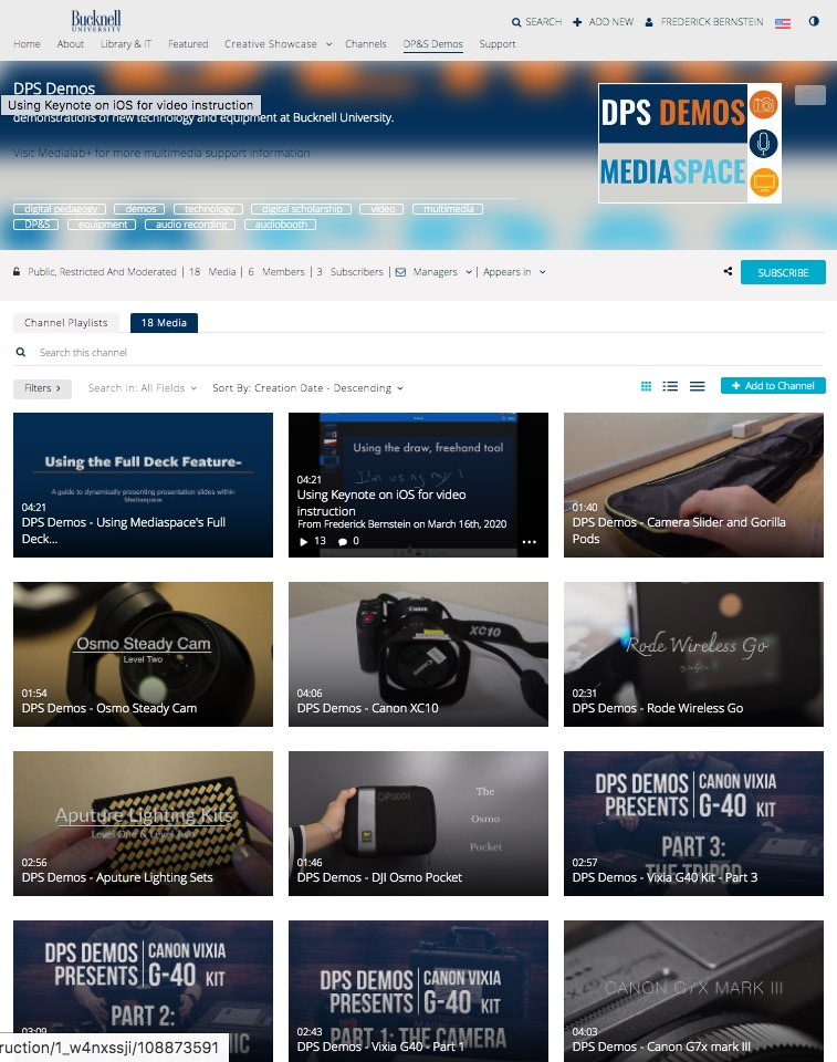 Example of a Channel Page in Mediaspace