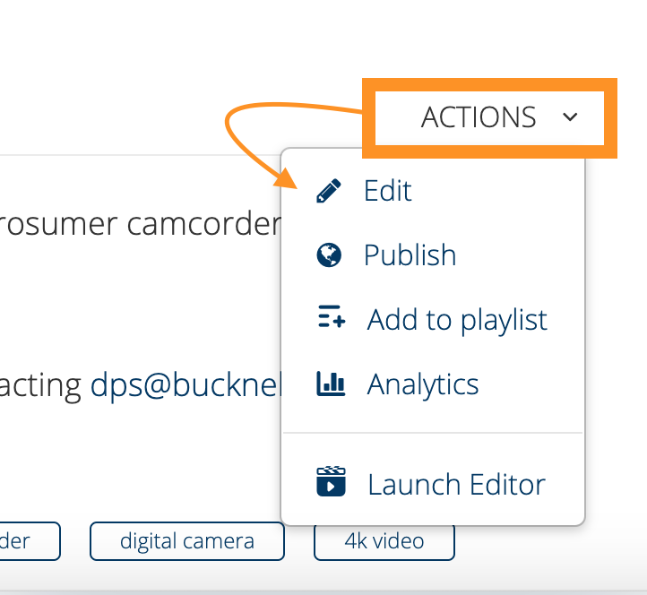 Actions Menu and Edit selection from Mediaspace video page
