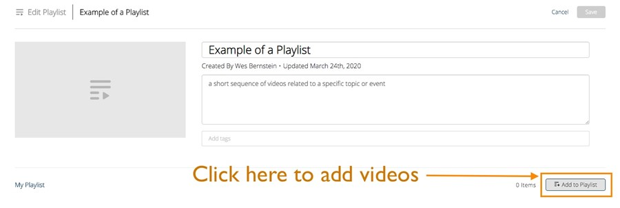 Add to Playlist button within mediaspace